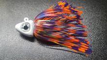 White Jig Head w/Orange,Purple Swirl Skirt