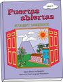 Student workbook for the Puertas Abiertas curriculum for kids learning Spanish