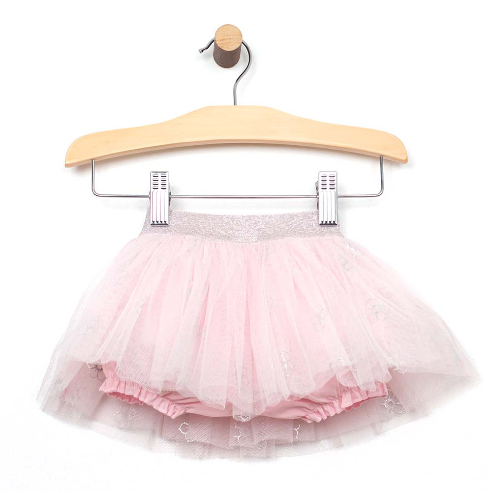 Foil printed tutu for baby and toddler girls.  Built in undergarment view.