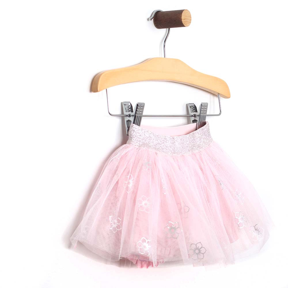 Foil printed tutu for baby and toddler girls. Side view.