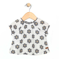 White cotton top for baby and toddler girls with grey and yellow flowers.  Front v.