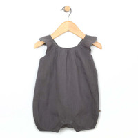 Front View of a baby and toddler romper in grey cotton.