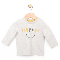 Front view of happy long sleeve top, a oatmeal shirt for babies and toddlers.  Unisex.