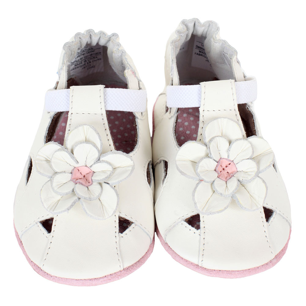 Pretty Pansy Baby Shoes White Soft Soles Robeez