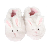 Robeez Fuzzy Bunny Baby Shoes White