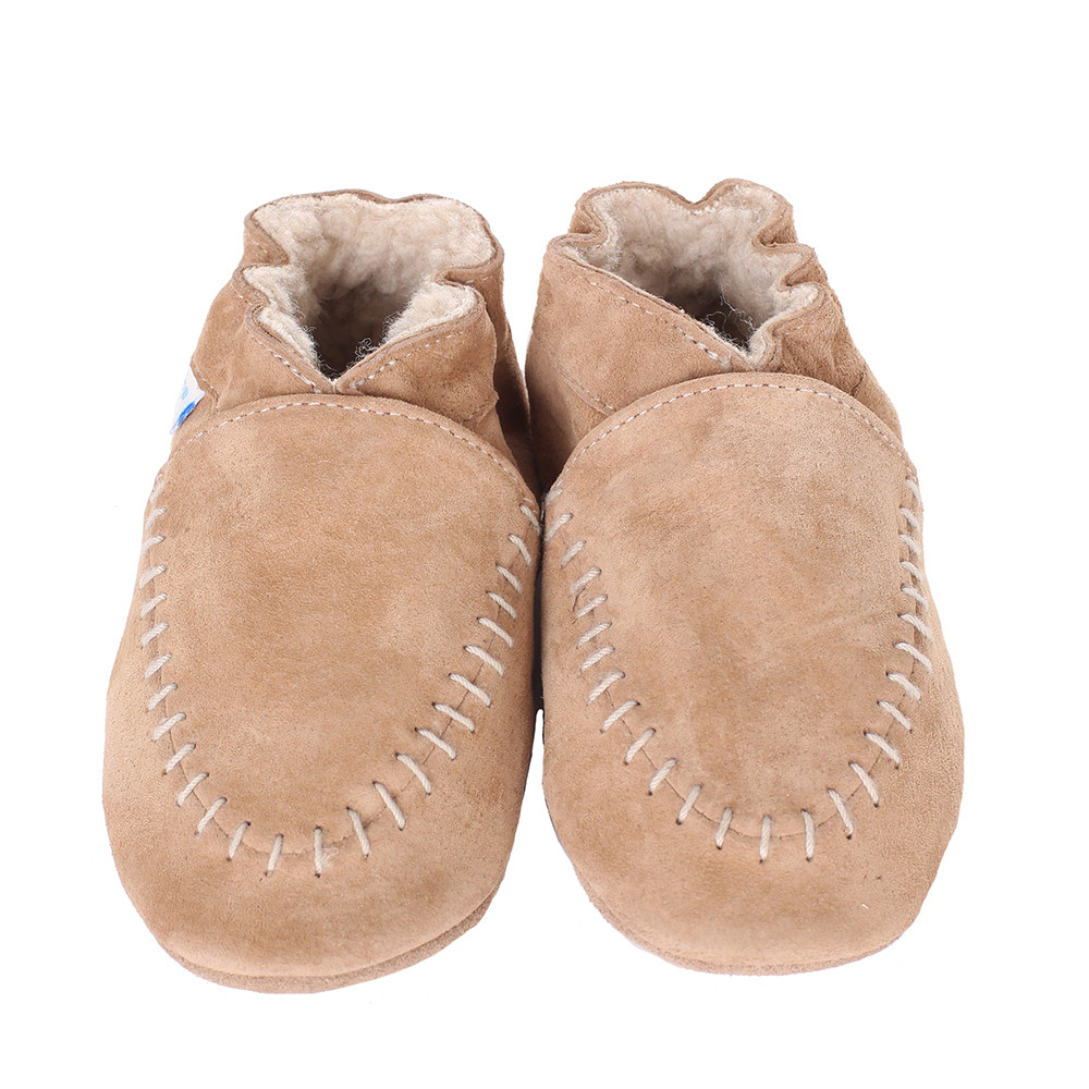 Robeez Cozy Moccasin Soft Soles, Taupe, Boys, Baby, Infant, Pre-Walker, Toddler, Shoes,  0-24 Months
