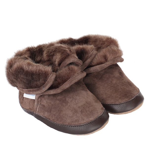 Robeez Cozy Ankle Bootie Soft Soles, Brown, Boys, Baby, Infant, Pre-Walker, Toddler, Boots, 0-24 Months, side