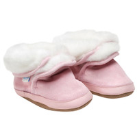 Cozy Ankle Soft Soles Boot, Pink Sparkle, 6- 12 Months Only