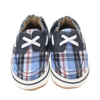 Robeez Connor Baby Shoes Navy Plaid