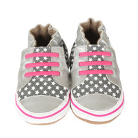 Silver Trendy Trainer Baby Shoes, Soft Soles