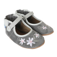 Side view of grey suede mary jane baby shoes for girls