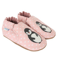 Side Pair: Pink leather polka dot baby shoes with penguins