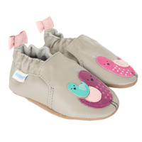 Side (2 shoes) of grey leather baby shoes for girls with bird appliques.