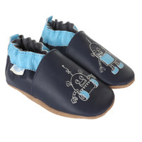 Side (both shoes) of navy leather baby shoes with Robot embroidery