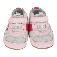 Pink leather white mesh baby shoes