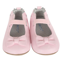 Pink Leather baby shoes split outsole