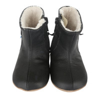 black leather faux fur baby shoes