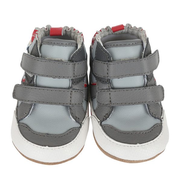 grey leather baby shoes secure fasteners