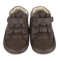 Brown leather baby shoes tweed edging