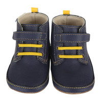 Navy leather baby shoe stay on