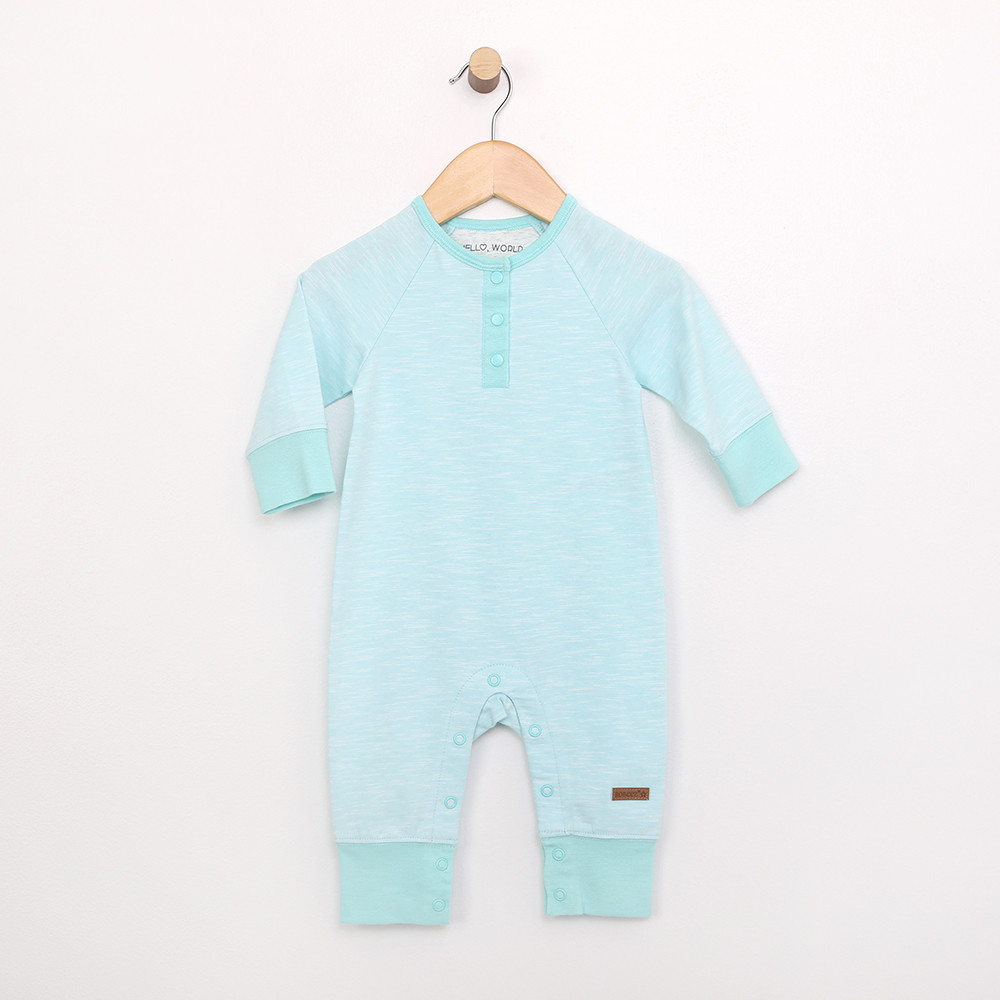 Turquoise cotton coverall onepiece bodysuit for babies, infants and toddlers