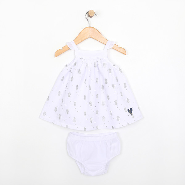 White dress with diaper cover.  Part of our infant clothing collection.