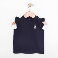 Navy ruffle short sleeve t-shirt for baby girls.  Part of our new baby clothing line.