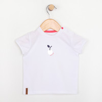 White short sleeve t-shirt for babies and infants.  Features a silver cherry.