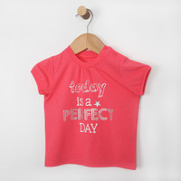 Pink short sleeve t-shirt for baby, infant and toddler girls.  Part of our new baby clothing line.