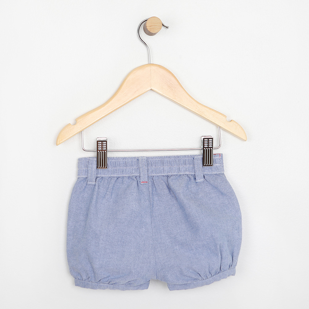 Baby or Infant cotton shorts in blue cotton