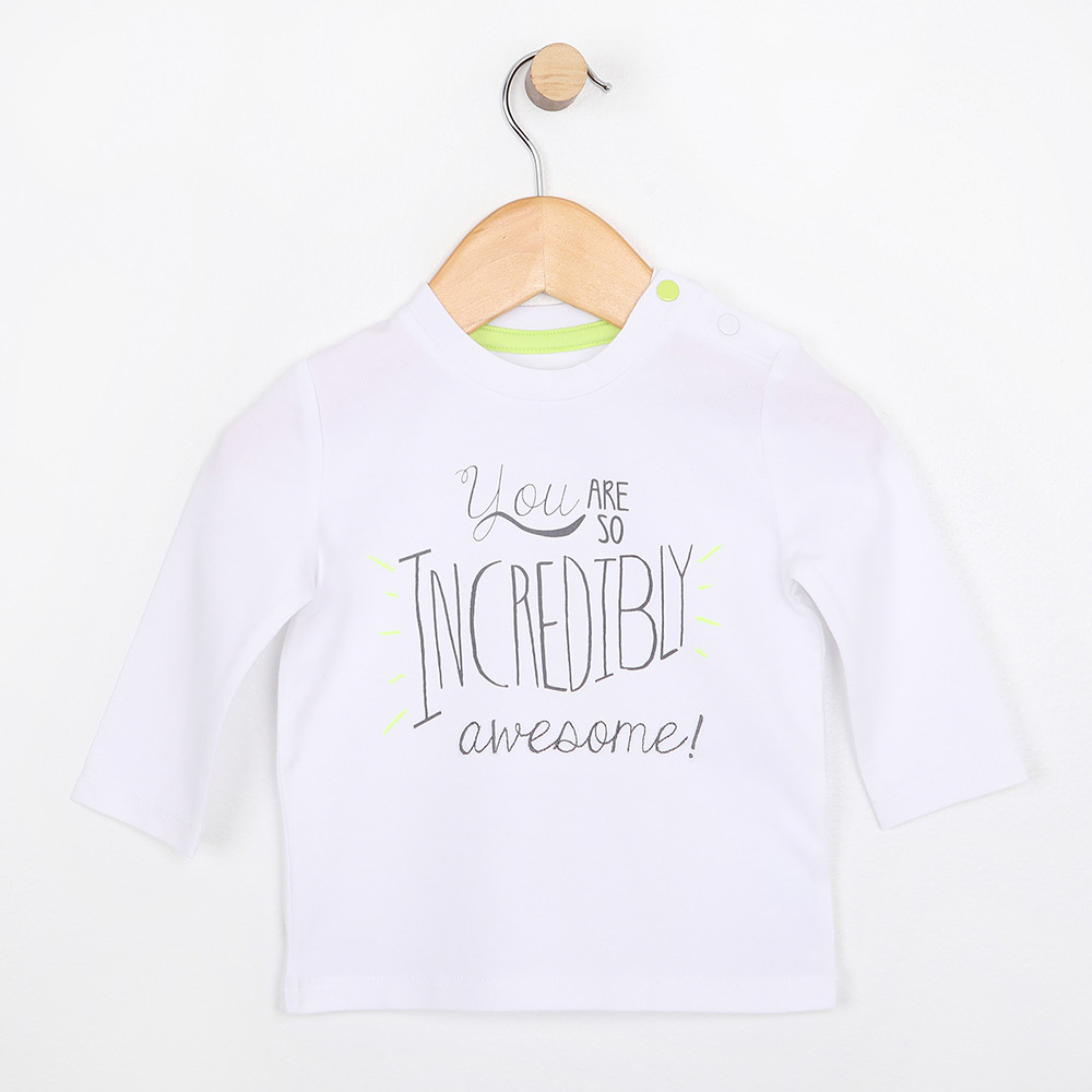 Long sleeve white cotton t-shirt for baby, infant or toddler.  Part of our new infant clothing line.