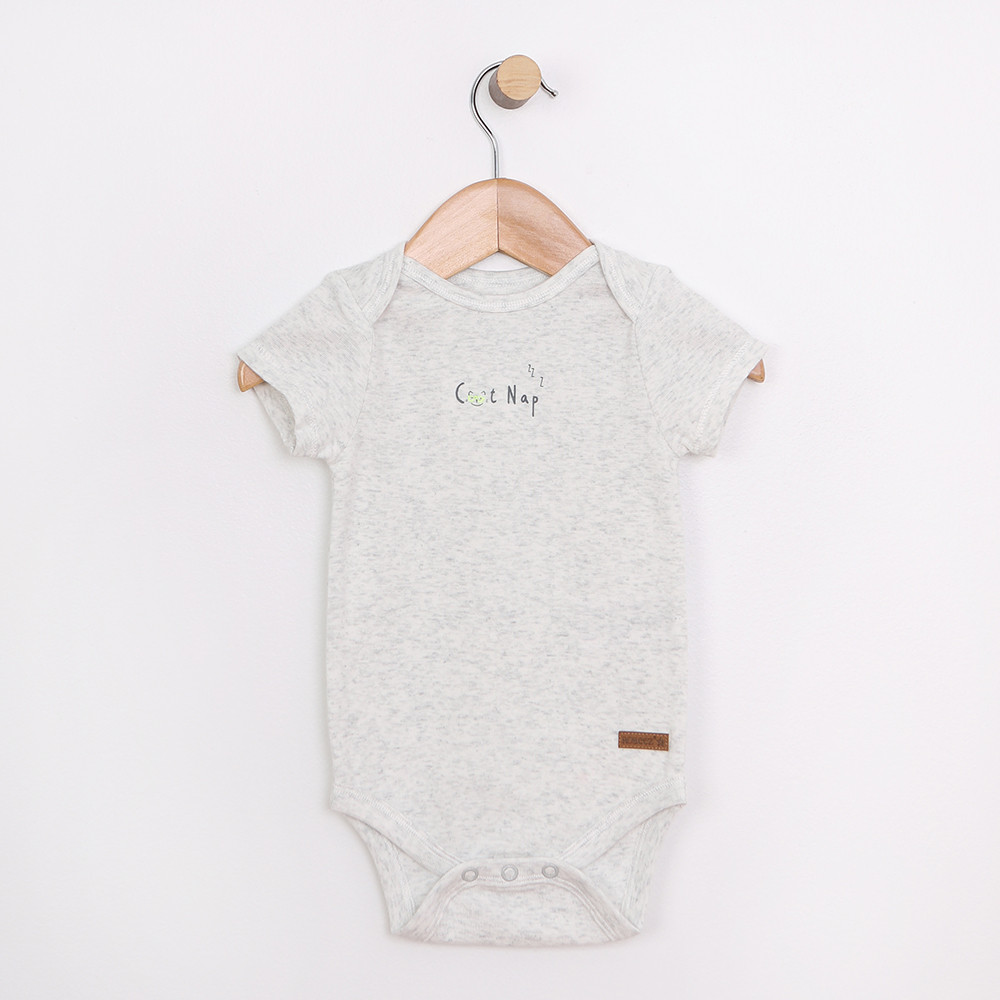 Cotton onesie, one piece, body suit with snaps at shoulder and leg for 0 to 12 month olds.  Perfect for your baby or infant.