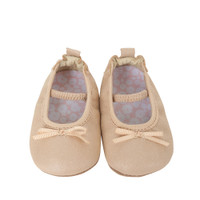 Taupe leather ballet shoes for baby girls ages 0 - 2 years old.