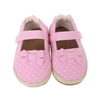 Pink canvas baby shoes with soft soles.  Look like women's espadrilles.