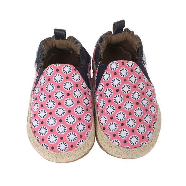 Pink canvas with geometric floral pattern soft sole baby shoe for girls