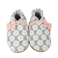 White leather soft soled baby shoes with pink bow and graphic floral pattern