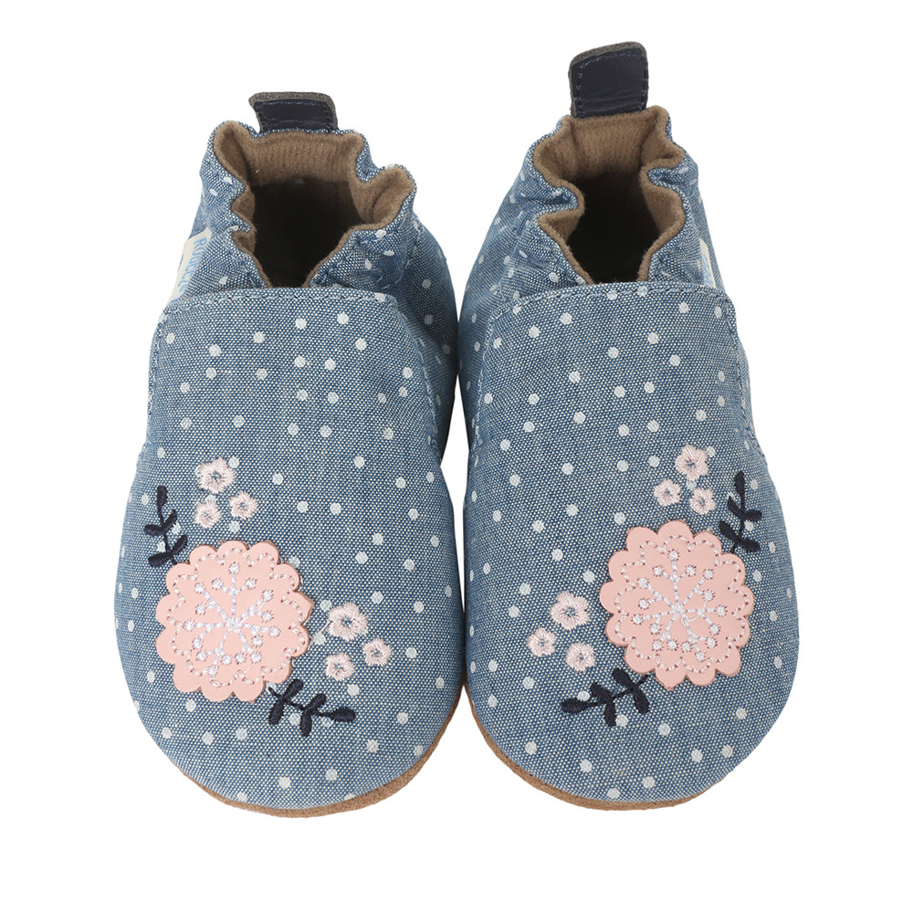 Chambray soft soled infant shoes with flowers