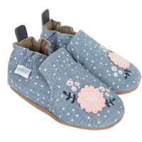 Chambray Bouquet Baby Shoes, Soft Soles