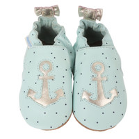 Light blue leather baby shoes with soft soles and an anchor