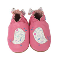 Leather Baby shoes with soft soles.  Bird designs and floral bow decorate this infant shoe.