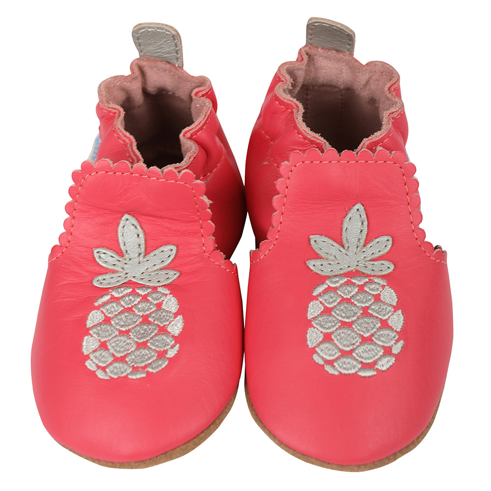 Pink leather baby shoes with silver pineapples on front.  These soft soled infant shoes are perfect for infants, babies and toddlers.