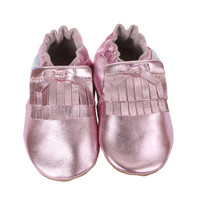 Pink metallic leather baby moccasins for girls, sizes 0 - 24 months.  These soft soled infant shoes are made of premium soft leather.