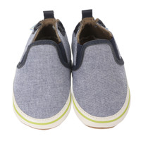 Navy canvas soft soled baby shoes with white PU trim.