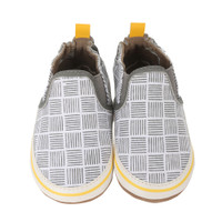 White canvas soft soled baby shoes with cross hatch pattern.  Looks like Dad's casual skate board shoe