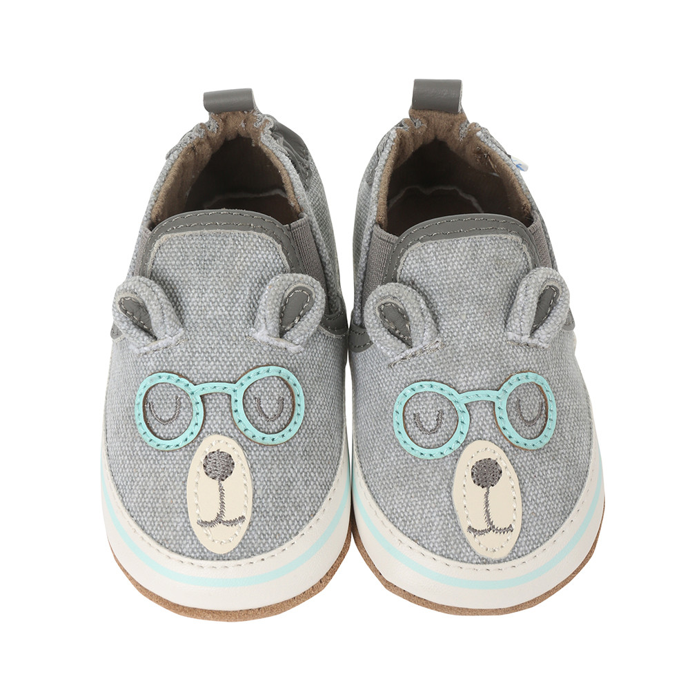 Grey canvas soft soled baby shoes designed to look like a bear wearing glasses.  Perfect for infants, babies and toddlers
