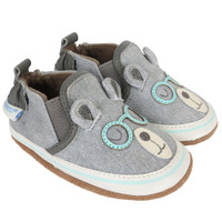 Brainy Bear Baby Shoes, Grey, Soft Soles