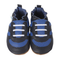 Blue soft soled leather baby shoes that look like dad's athletic shoes