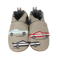 Grey leather soft soled baby shoes with cars