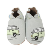 Grey canvas soft soled baby shoes with cars