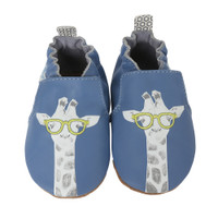 Blue leather soft soled baby shoes with giraffes